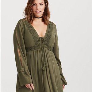 Olive Lace Up Gauze A Line Dress